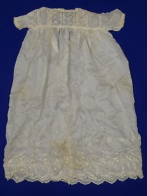 "Antique Baby's Cream Silk And Lace 39"" Christening Gown Pretty!"
