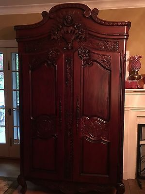 Antique Vintage French Mahogany Louis XVI  Armoire Fabulously Hand carved OMG!!