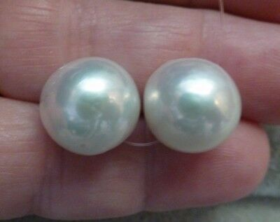 2 High Luster White Bead Nucleated Pearls, 12 - 13 mm, Off-Round
