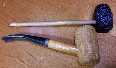 Lot of 2 Vintage Smoking Pipes- Corn Cobb Tinder Box  & Hand Carved Black Bowl