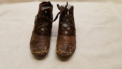 1 Pair Antique Vintage Leather Victorian Tie Baby Doll Child Boots Shoes