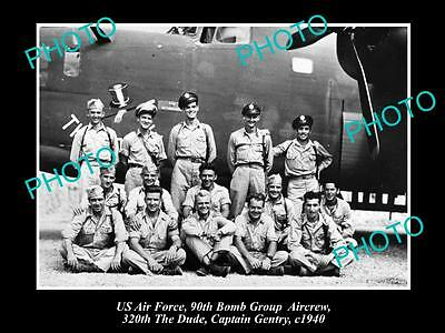 OLD LARGE HISTORICAL PHOTO OF US AIR FORCE 90th BOMB GROUP, DUDE AIRCREW c1940