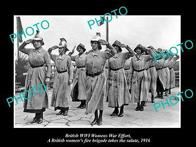 Old Large Historic Photo Of British Wwi Womens War Effort Fire Brigade Team 1916