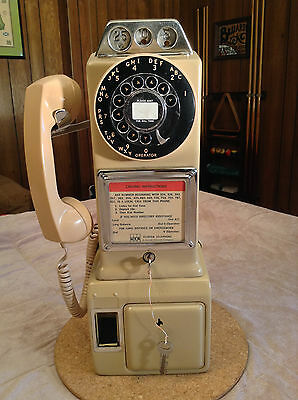 Automatic Electric 3 Slot Rotary Dial Payphone Beige