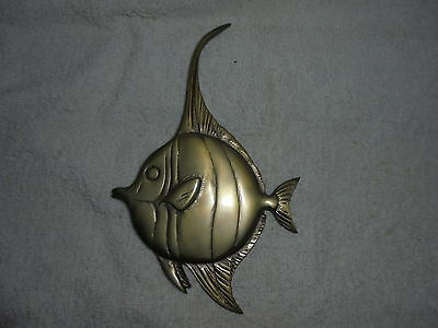 Vintage brass Angel fish wall plaque
