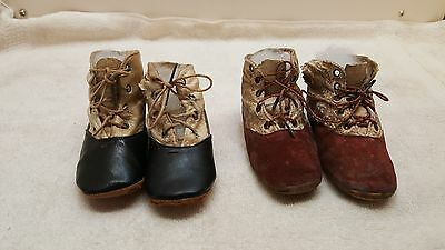 2 Pair Antique Vintage Leather Victorian Tie Baby Doll Child Boots Shoes