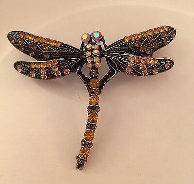 Dragonfly Pin Brooch with Topaz Crystals set in Vintage Plating