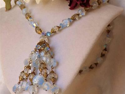Gorgeous Vintage Miriam Haskell Crystal & Filigree Lavalier Dangle Necklace