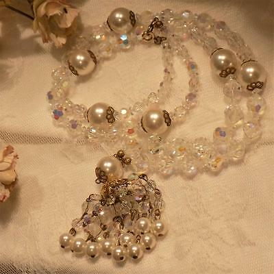 "Fabulous Vintage 30"" Faceted Crystal & Faux Pearl Drippy Tassel Necklace"