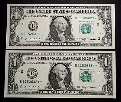 2009 USA Consecutive One $1 Dollar Star Notes - B11526823*/24* Uncirculated
