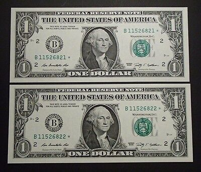 2009 USA Consecutive One $1 Dollar Star Notes - B11526821*/22* Uncirculated