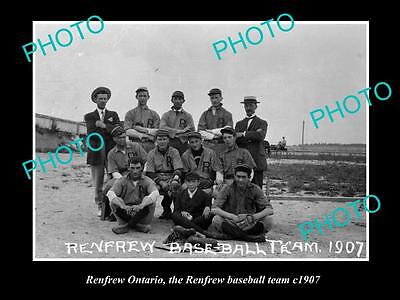 OLD LARGE HISTORIC PHOTO OF RENFREW ONTARIO, THE RENFREW BASEBALL TEAM c1907