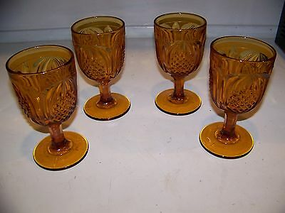 4 Vintage Fenton Orange Carnival Drinking Glass Goblet Set Lot Pineapple Design