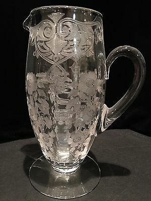 Cambridge Glass Company Apple Blossom Footed Pitcher