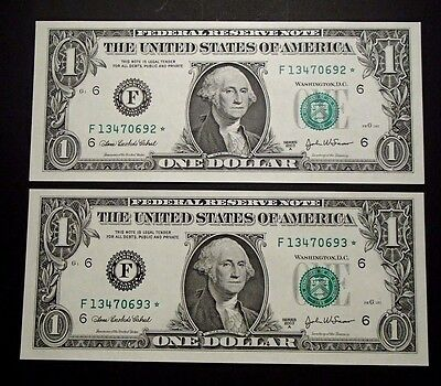 2003-A USA Consecutive One $1 Dollar Star Notes - F13470692*/93* Uncirculated