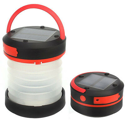 Camping Lantern Solar Lamp LED Powered Collapsible Rechargeable Light Torch Tent