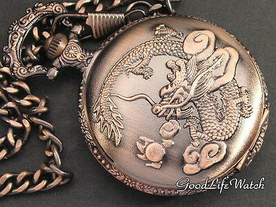 Chinese Antique Dynasty Dragon Emblem Pocket Watch Copper Free Gift Box WTP2003