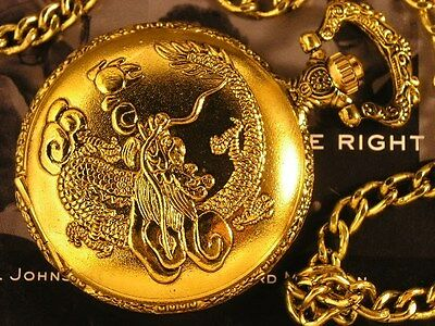 Antique Design Chinese Dragon Flying Image Pocket Watch Golden Gift Box WTP1009