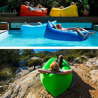 Lazy Inflatable Couch Air Sleeping Sofa Lounger Camping Bed Portable Fast Beach