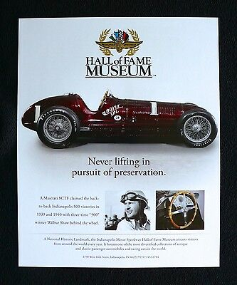 Indianapolis 500 Motor Speedway Hall of Fame MASERATI 8CTF Advertisement Ad 9x11