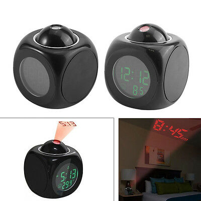 Snooze Alarm Clock Backlight Wall Projector Projection Clocks Thermometer WD