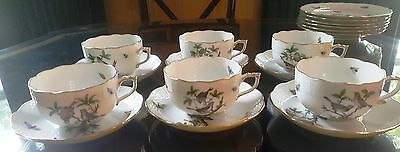 Herend Rothschild Birds Set of 6 Cups and Saucers 724/RO 62A  Total 12 pieces