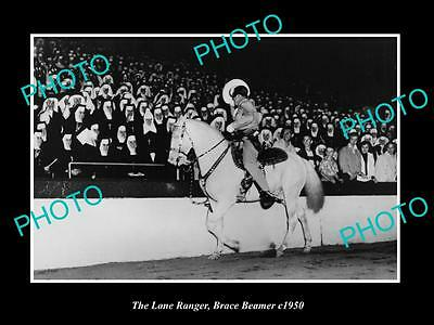 OLD HISTORIC PHOTO OF BRACE BEEMER AS THE LONE RANGER WITH NUNS AT ARENA c1950