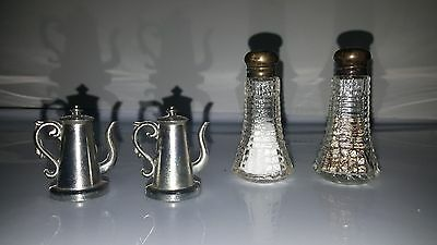 VTG Salt & Pepper Shakers Cut Glass Sterling Silver Tops Antique 3 Sets Teapot