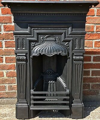 Original All In One Antique Late Victorian Cast Iron Fireplace Dated 1897