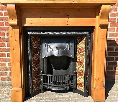 Original Victorian Cast Iron Fireplace Dated 1899 & Solid Pine Surround