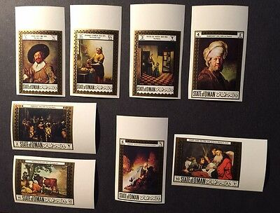 State of OMAN Painting Stamp Set of 8 MINT NEVER HINGED IMPERF MNH