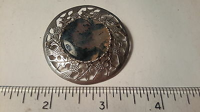 Silver Scottish Pin With Stone And Thistles