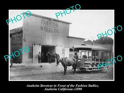 Old Large Historic Photo Of Anaheim California, View Of The Fashion Stables 1890