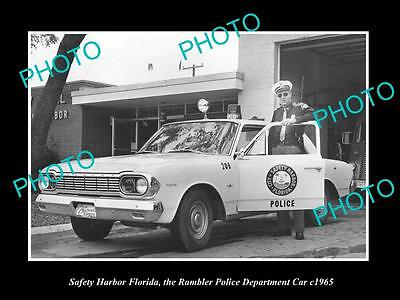 OLD LARGE HISTORIC PHOTO OF SAFETY HARBOR FLORIDA, THE RAMBLER POLICE CAR c1965