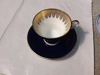 Aynsley Teacup And Saucer  - Blue And Gold
