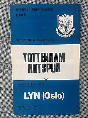 TOTTENHAM V Lyn Oslo UEFA Cup 1972 Programme Excellent Spurs