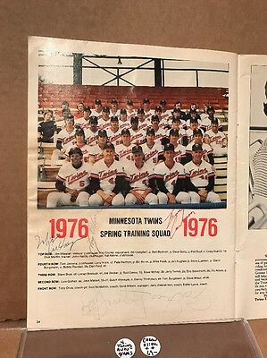 1976 Minnesota Twins Scorecard With 5 AUTOS - Rod Carew, Tony Oliva, Smalley!