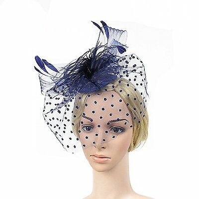 OULII Feather Fascinator Hair Clip Hat Women Cocktail Party Derby Hat Blue