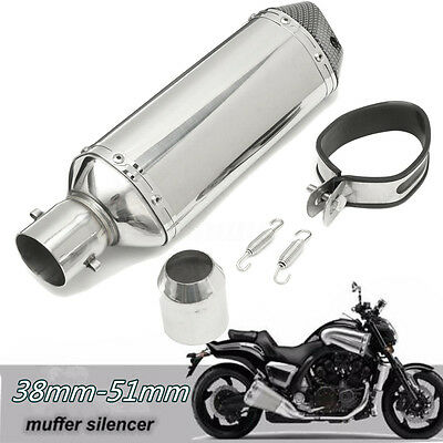 38-51mm Stainless Pipe Muffler Exhaust Silencer  Motorcycle Dirt Street Bike