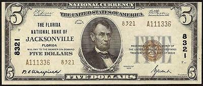 1929 $5 Dollar Bill Jacksonville Florida National Banknote Paper Currency Money
