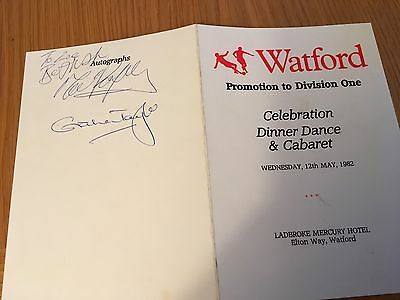 Watford - Promotion to Division One menu card 31.3.1983 signed Graham Taylor