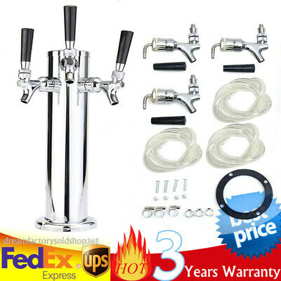 3 Taps Draft Beer Tower Triple Faucet Stainless Steel Homebrew Bar Fit Kegerator