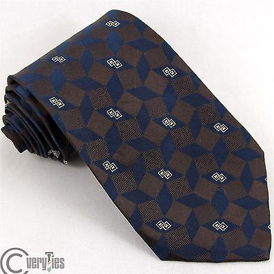 Cravatta ANDREW'S TIES Blu Marrone Jacquard 100% Seta Made in Italy Tie