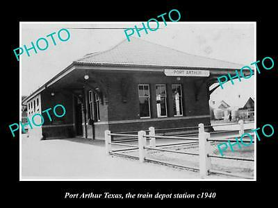 OLD LARGE HISTORIC PHOTO OF PORT ARTHUR TEXAS, THE RAILROAD DEPOT STATION  c1940