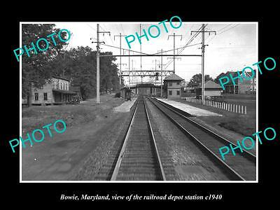 OLD LARGE HISTORIC PHOTO OF BOWIE MARYLAND, THE RAILROAD DEPOT STATION c1940