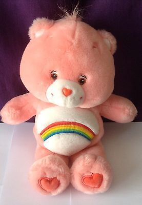 Care Bears Cheer Bear 2002 Soft Toy Collectible Pink With Rainbow