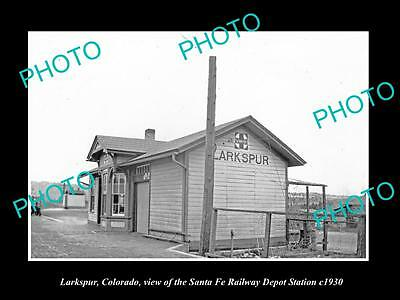 OLD LARGE HISTORIC PHOTO OF LARKSPUR COLORADO, THE RAILROAD DEPOT STATION c1930