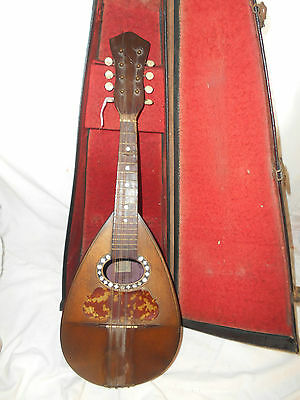 Cased 19th Century ITALIAN THE SUNRISE MOTHER of PEARL INLAID 8 STRING MANDOLIN