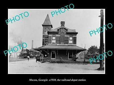 OLD LARGE HISTORIC PHOTO OF MACON GEORGIA, THE RAILROAD DEPOT STATION c1910