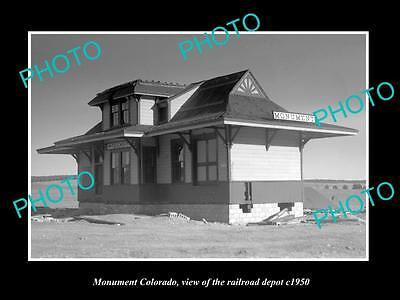 OLD LARGE HISTORIC PHOTO OF MONUMENT COLORADO, RAILROAD DEPOT STATION c1950